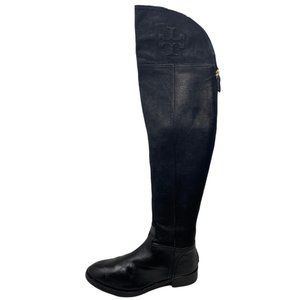 Tory Burch Simone Over The Knee Black Grain Leather Boots Size 5.5